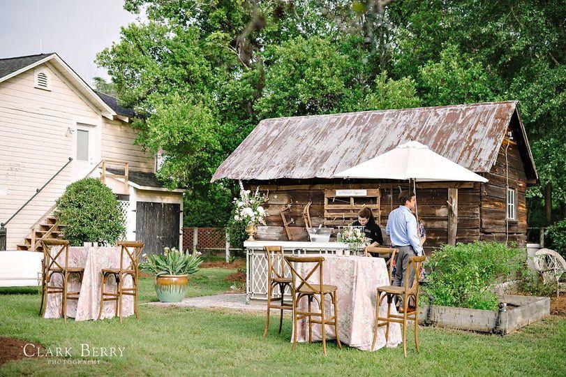 Outdoor tables to garden.