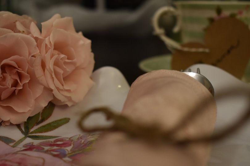 Soft pink place setting