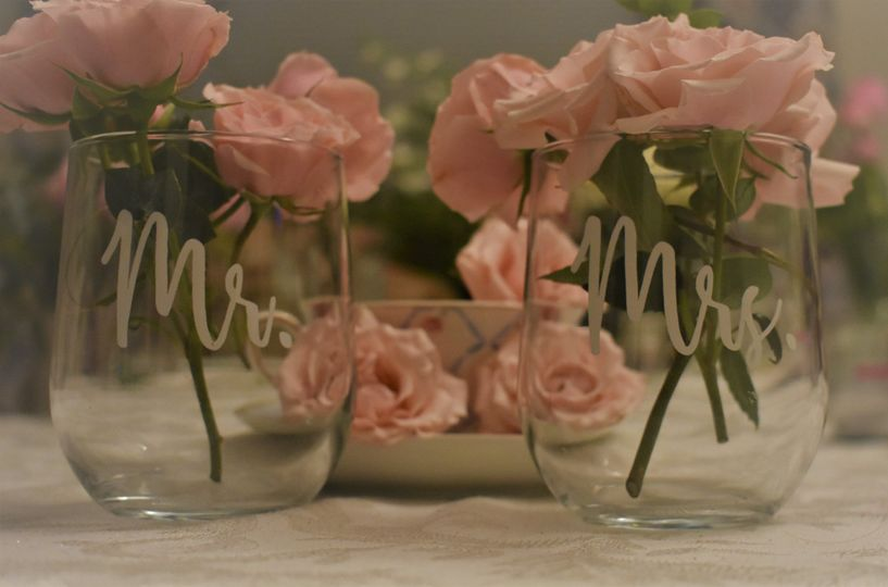 Mr and mrs with pink roses