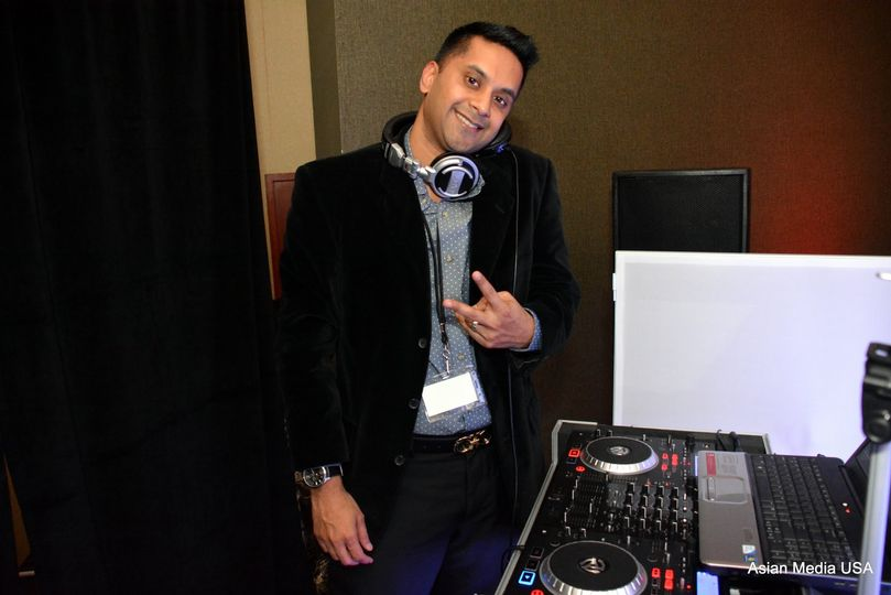 DJ with his equipment