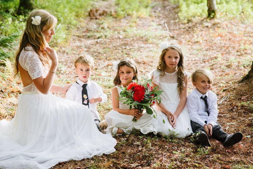 Bride with the kids