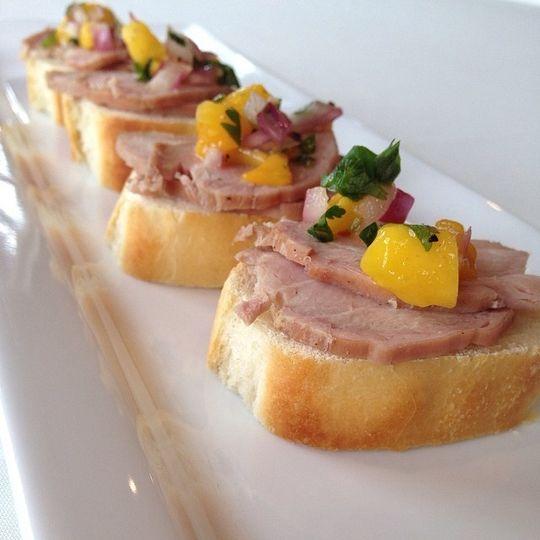 seared pork crostini