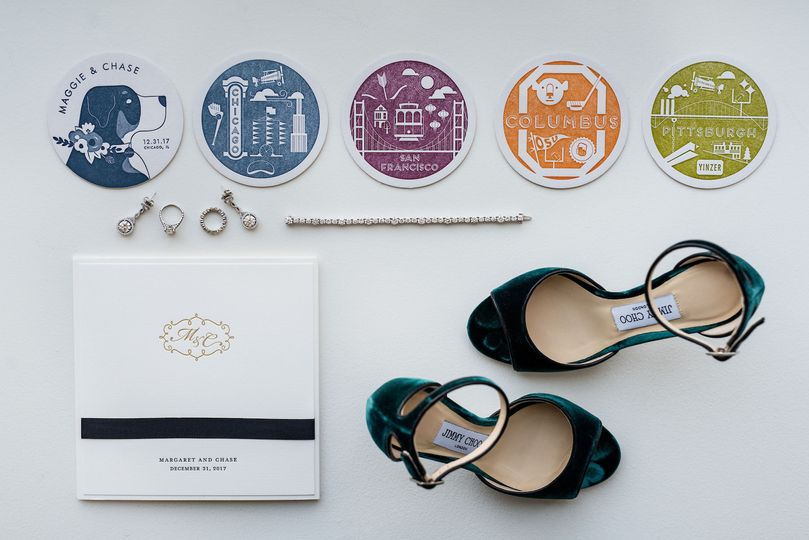 Wedding invite, rings, and shoes