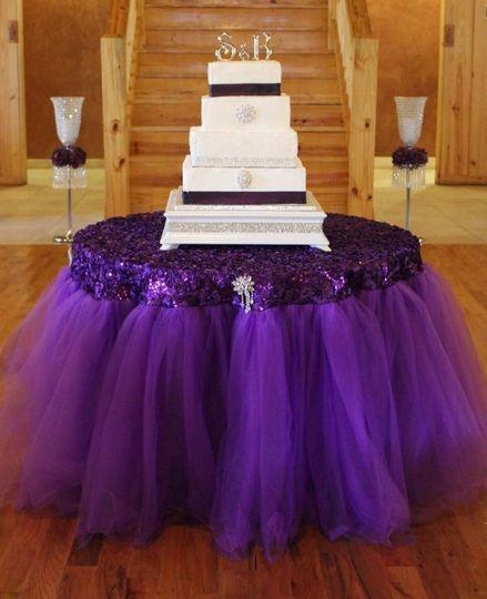 purple tutu skirt and cake up close use