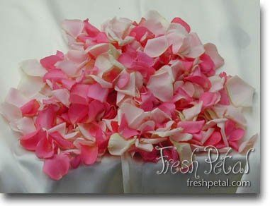 Our custom blended rose petals can include two colors of your choice.