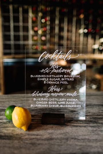 Acrylic bar signage