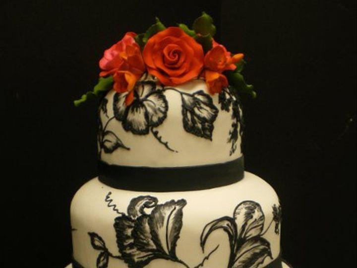 Tmx 1329060868636 BlackBrushEmbroidery.jpg Port Jefferson, New York wedding cake