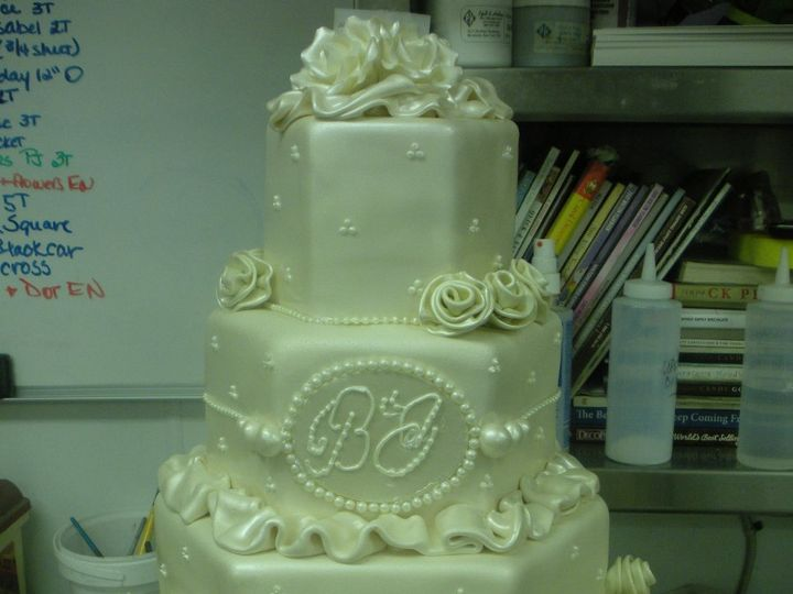 Tmx 1341943371818 RolledRoseshex3 Port Jefferson, New York wedding cake