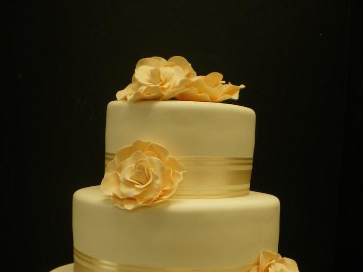 Tmx 1342367369925 BlushMagnoliasRibbon.jpg Port Jefferson, New York wedding cake