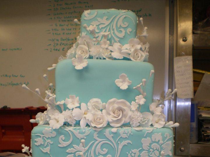 Tmx 1342367433525 BlueSquaresStencilFlowers.jpg Port Jefferson, New York wedding cake