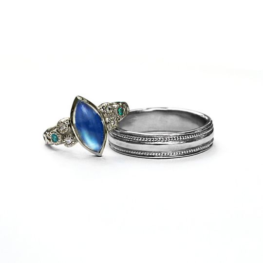 Hers: 18k white gold, set with rainbow moonstone, diamond, and paraiba tourmaline