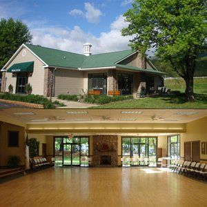 Exterior seating areas and a spacious interior with hardwood floors and two great stone fireplaces.