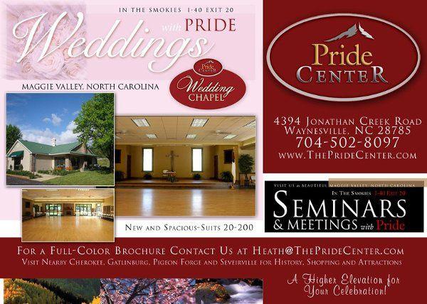 Beautiful Weddings at The Pride Center onsite at Pride Resort, Maggie Valley, NC.