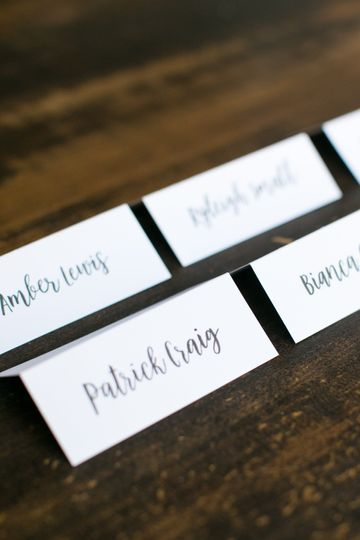 Place cards close up