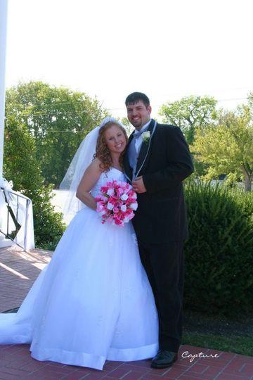 The newlyweds outside