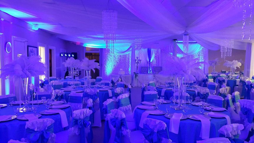 Blue lighting for the reception hall
