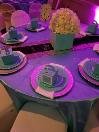Table setting and pink lighting