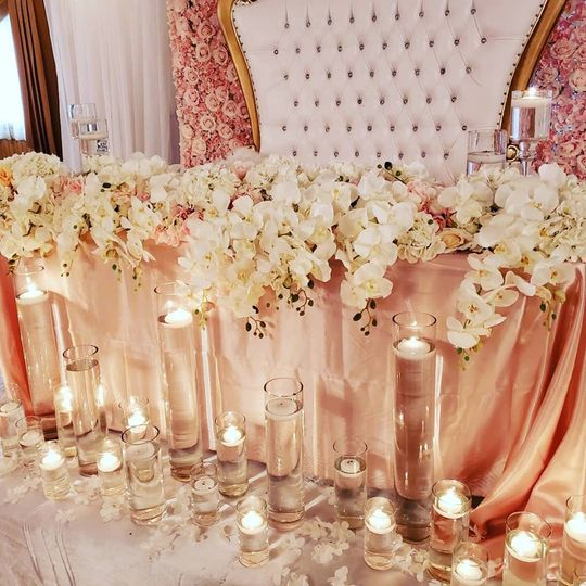 Floral decor and floating candles