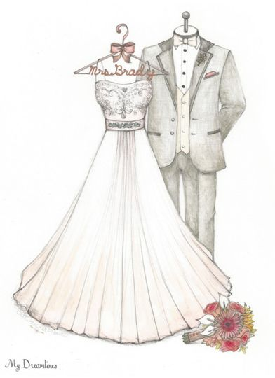 Dreamlines wedding dress sketch is perfect for the one year anniversary gift or the wedding day gift...