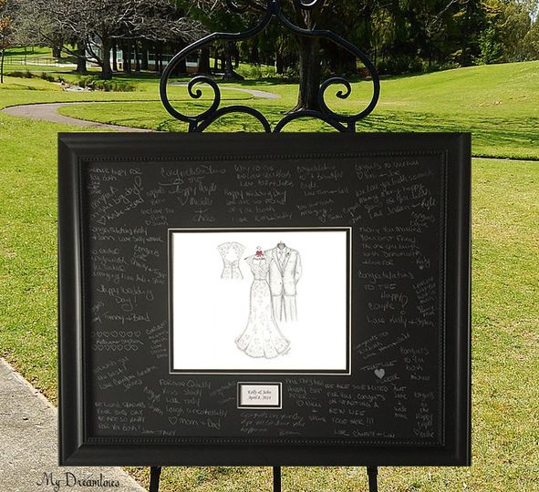Wedding guest book idea. A Dreamlines wedding dress and suit sketch framed for your guests to sign....