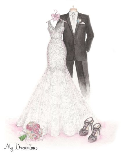 Dreamlines Personalized Wedding Dress Sketch - Favors & Gifts - O ...