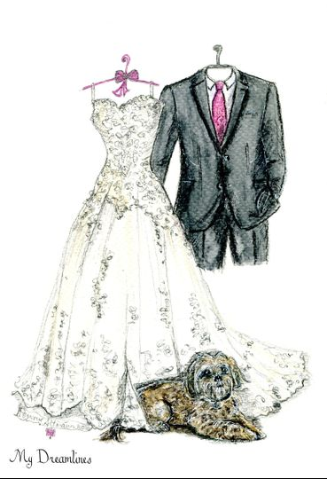 Personal sketch of her wedding dress, suit, bouquet and shoes. What is the best wedding gift for my...
