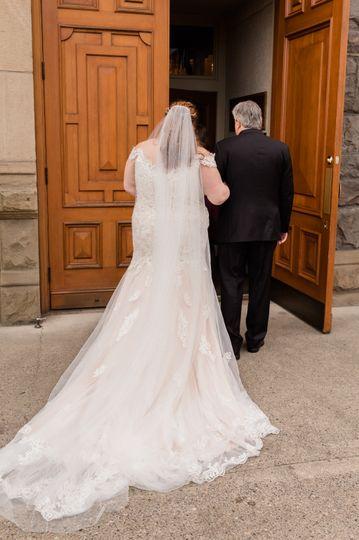 Bride getting ready to walk