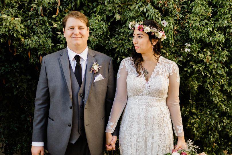 Adorable moment bride & groom