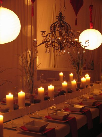 Evening chinese theme wedding