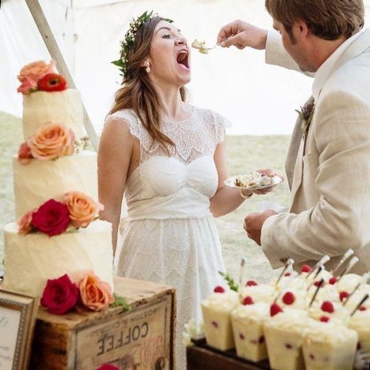 Eating the wedding cake