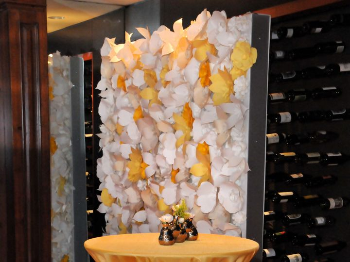 Tmx 1391193359178 01 Yellow Flower Wall 301atmosphere4 28 1 Tampa wedding florist