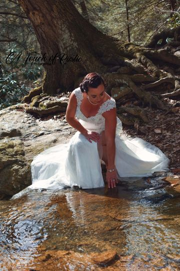 Bride at the water's edge