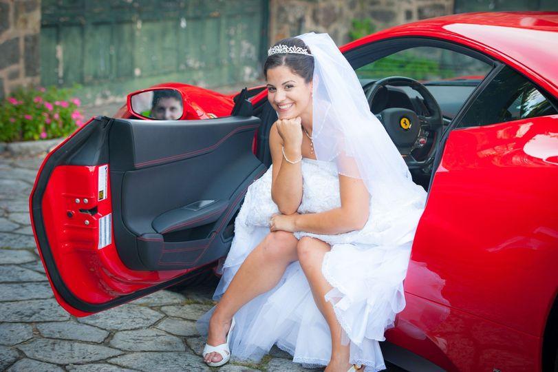 red ferrari bride