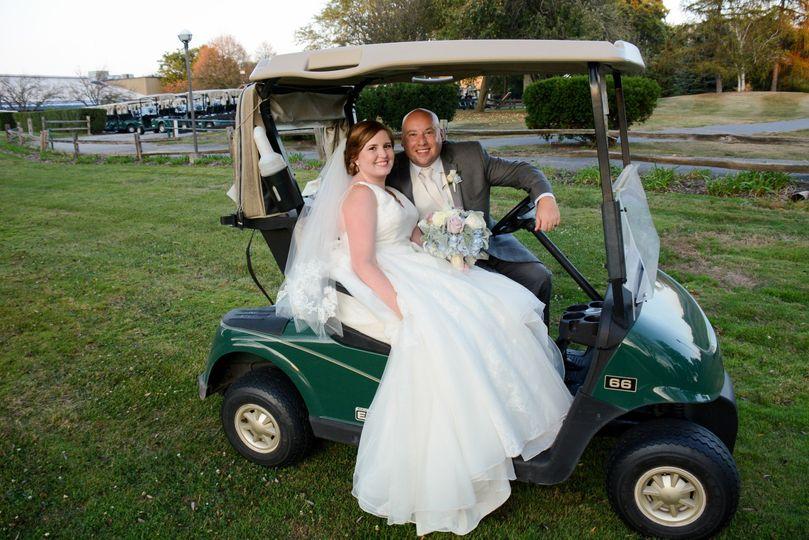 Cristin & Justin enjoying their golf course wedding.  Photo: George Street Photo