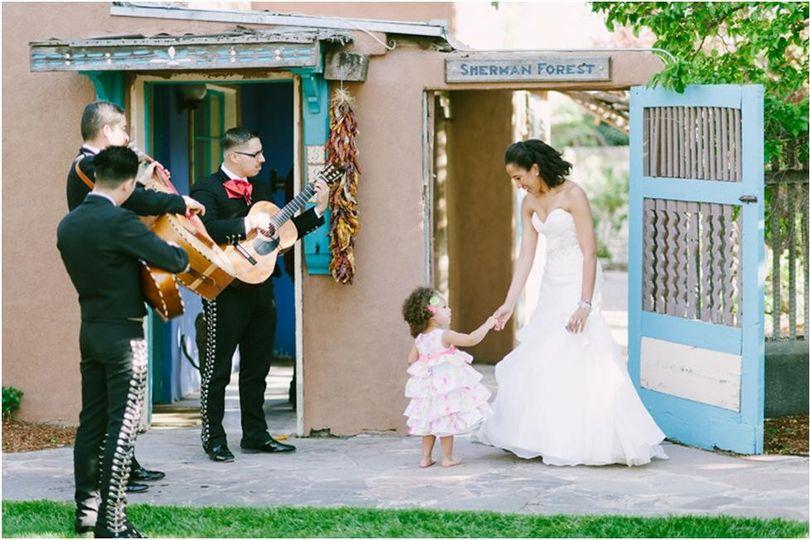 Bride and child