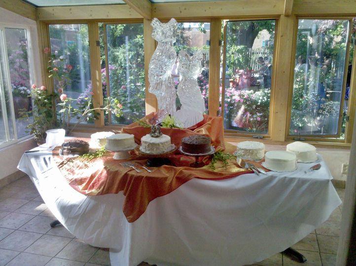 Wedding cake table setup