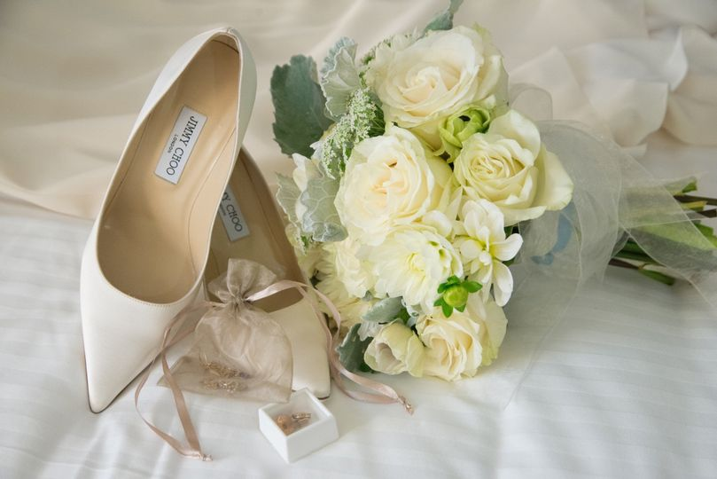 Bouquet and wedding shoes