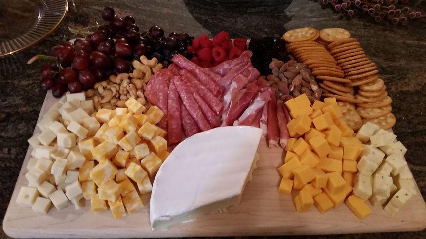 Cheese, ham and crackers