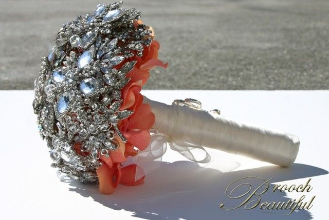 coral bling brooch bouquet web3