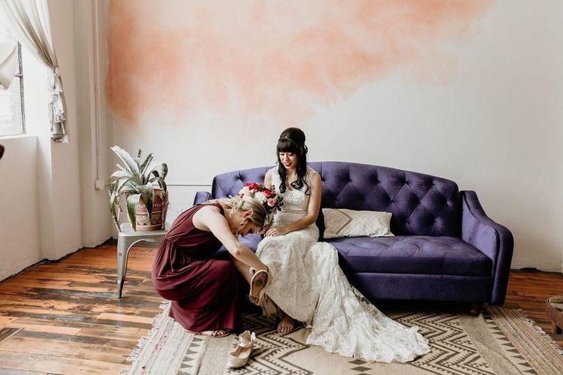 A bridesmaid on duty