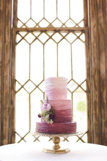 Pink gradient wedding cake
