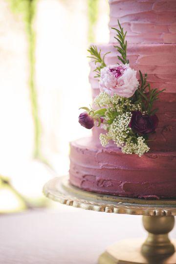 Wedding cake with pink rose