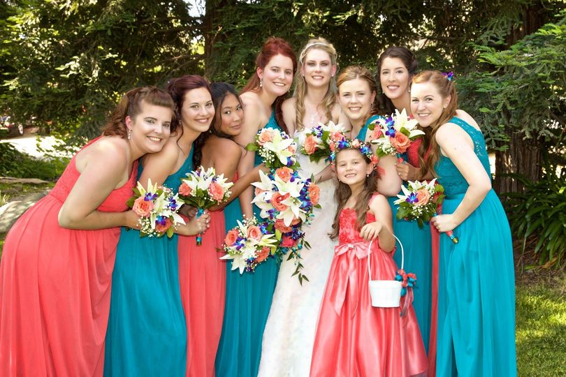 Bride with her bridal attendants