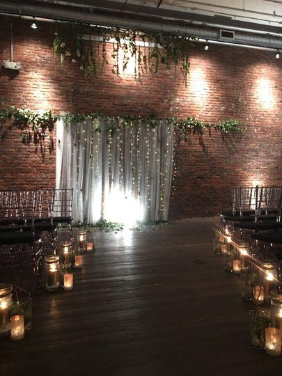 Fairy lights & tulle backdrop