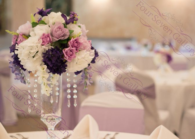 Purple and jeweled centerpiece