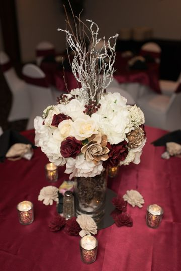 Maroon and Ivory centerpiece