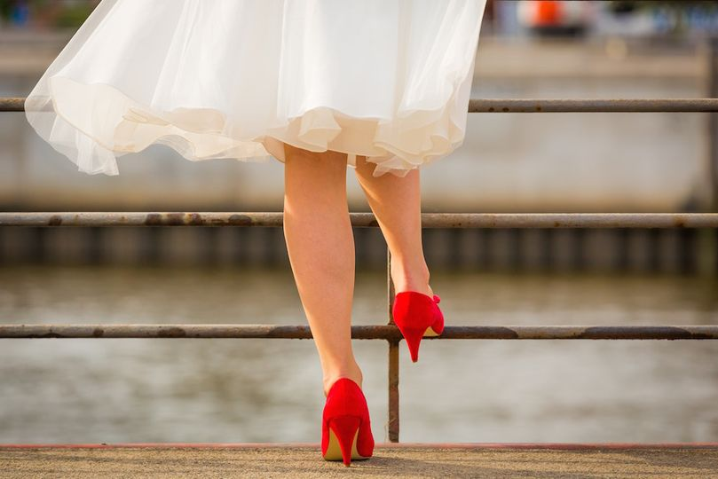Wedding dress and red heels