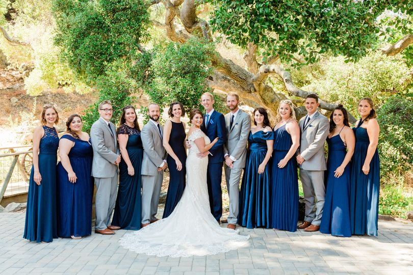 Blue and grey bridal party