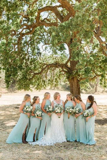 Teal bridal party dresses