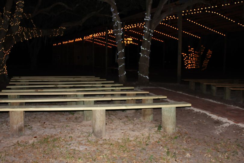 Carriage barn seating at nite
